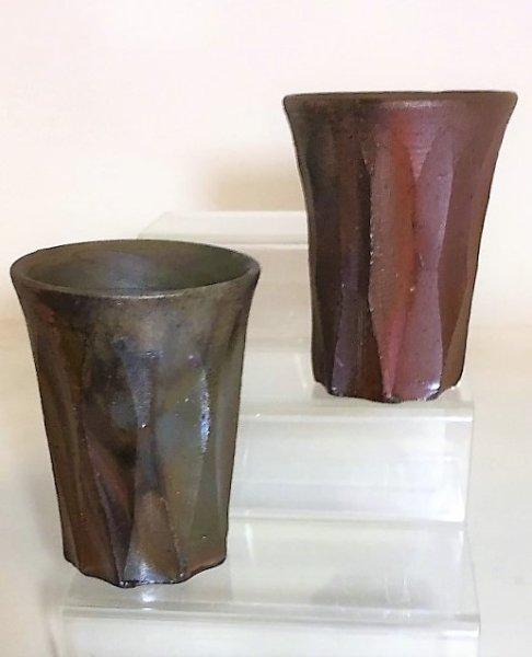 画像1: 備前焼  フリーカップ(波紋)2個セット (1)